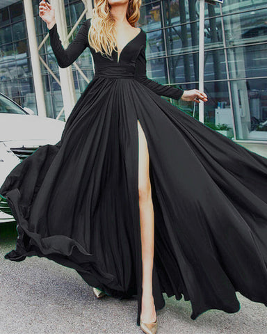 Image of alinanova long sleeves evening dresses 7043 black