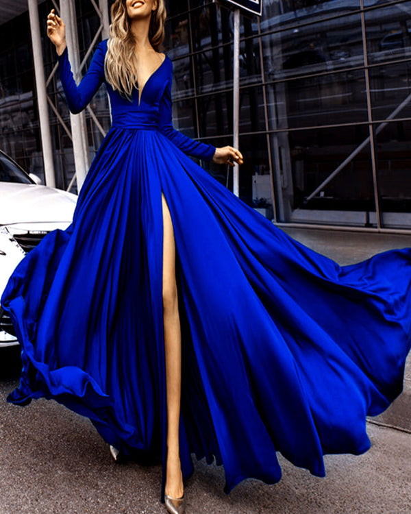 Long Sleeves Evening Dresses Chiffon V-neck Split Prom Dress