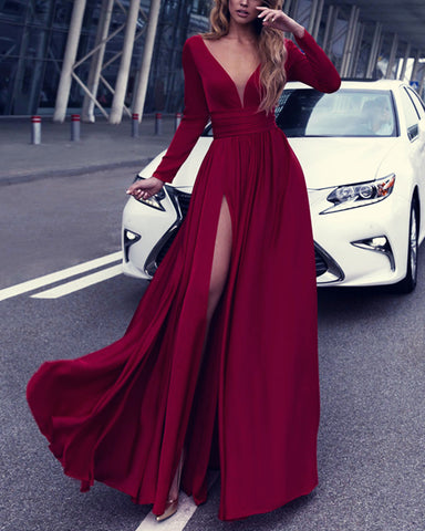 Image of alinanova long sleeves evening dresses 7043 burgundy