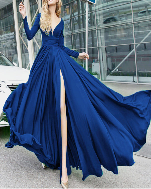 alinanova long sleeves evening dresses 7043 navy
