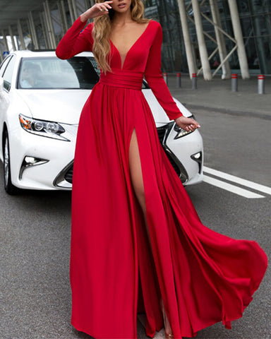 Image of alinanova long sleeves evening dresses 7043 Red