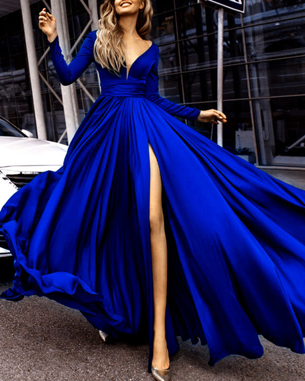 alinanova long sleeves evening dresses 7043 royal blue