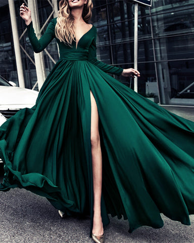 Image of alinanova long sleeves evening dresses 7043 emerald green