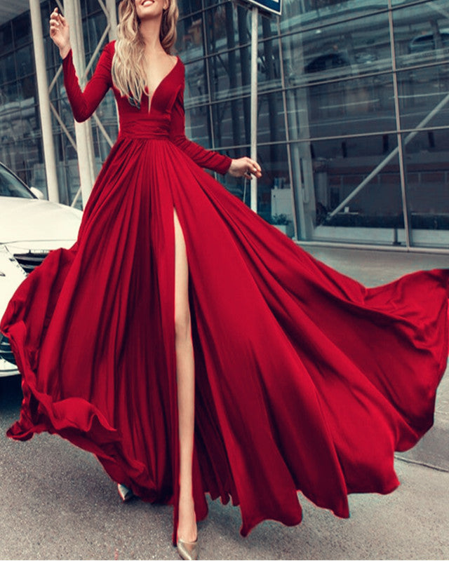 34fae6030cb7 Long Sleeves Prom Dresses V-neck Chiffon Split Evening Gowns 2019 ...