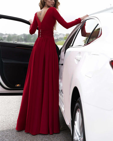 Image of alinanova long sleeves prom dresses 7043 burgundy