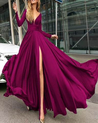 Image of Sexy Plunge V-neck Long Sleeves Prom Dresses Leg Split