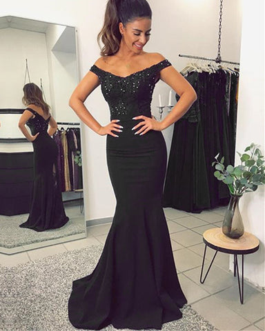 Image of alinanova mermaid bridesmaids dresses 70131 Black