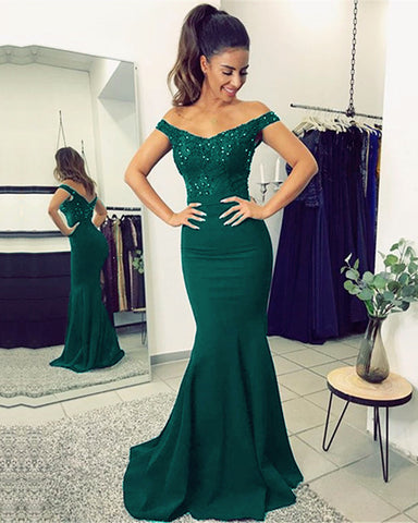 Image of alinanova mermaid bridesmaids dresses 70131 Green