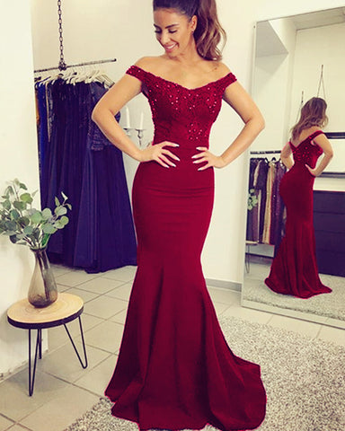 Image of alinanova mermaid evening dresses 7013 burgundy
