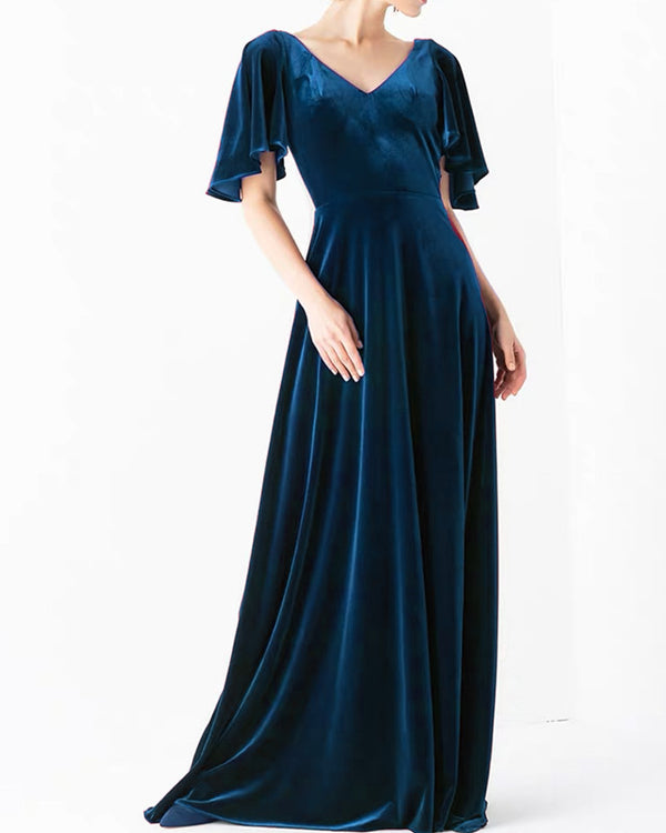 Navy Blue Velvet Bridesmaid Dresses With Sleeves