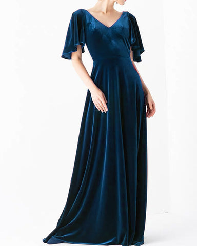 Image of Navy Blue Velvet Bridesmaid Dresses With Sleeves