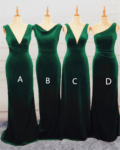 Image of Emerlad Green Velvet Bridesmaid Dresses Mixed Style