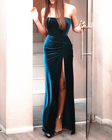 Image of Slit Velvet Mermaid Bridesmaid Dresses Navy