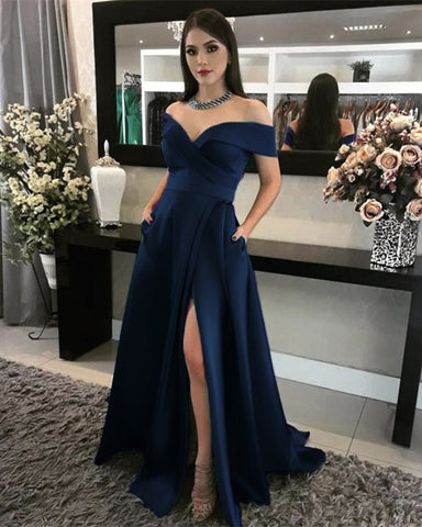 Navy Blue Prom Dresses With Pockets