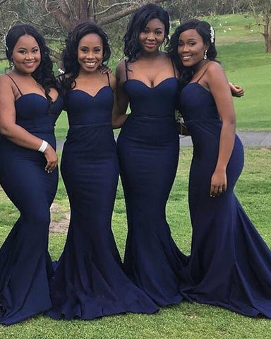 Image of Navy-Blue-Bridesmaid-Dress-Mermaid-Spaghetti-Straps-Formal-Satin-Gown