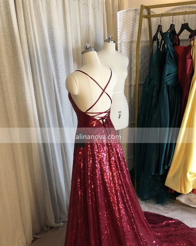 Open Back Sequin Prom Dresses