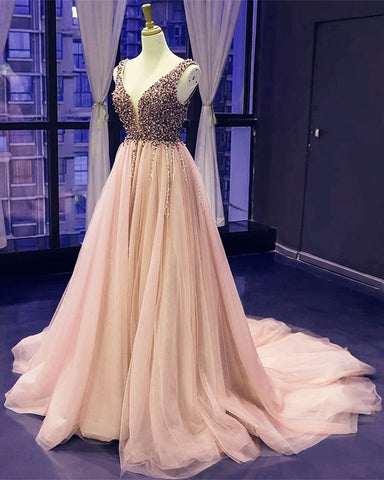Peach Prom Long Dresses