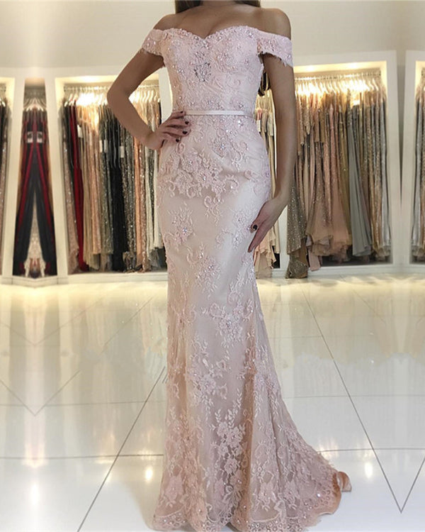 Pearl Pink Lace Mermaid Prom Dresses