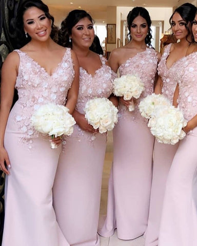 Image of Mismatched Bridesmaid Dresses Pink
