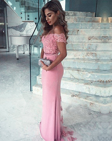 Image of Lace V-neck Long Mermaid Dresses Court Train Off Shoulder
