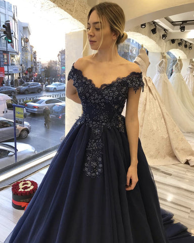 Image of Navy Blue Tulle Dresses