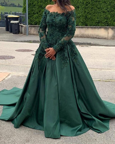 Image of A-line /Princess Long Sleeves Prom Dresses Lace Beaded Off The Shoulder