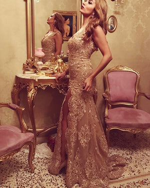 Gold Lace Prom Dresses Mermaid