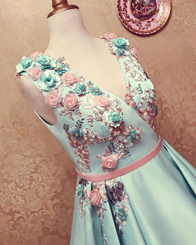 Long Satin Empire Prom Dresses V Neck 3D Flowers Embroidery