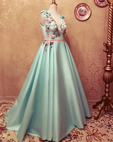 Image of Long Satin Empire Prom Dresses V Neck 3D Flowers Embroidery