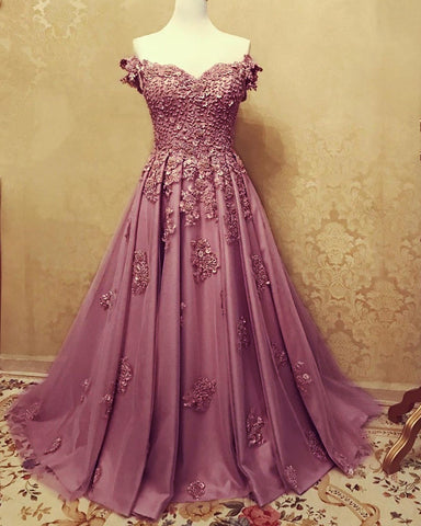 A-line /Princess Prom Dresses Tulle Off The Shoulder Lace Embroidery