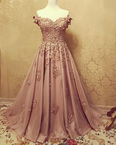 Image of A-line /Princess Prom Dresses Tulle Off The Shoulder Lace Embroidery