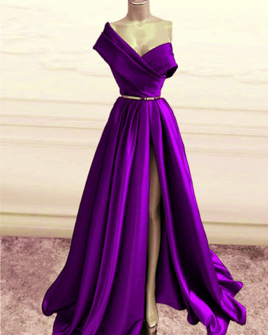 Purple Prom Dresses One Shoulder