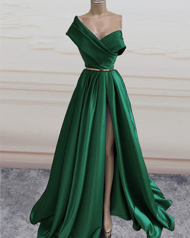 Sexy Long Satin Split Formal Dresses One Shoulder