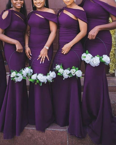 Purple Bridesmaid Dresses One Shoulder