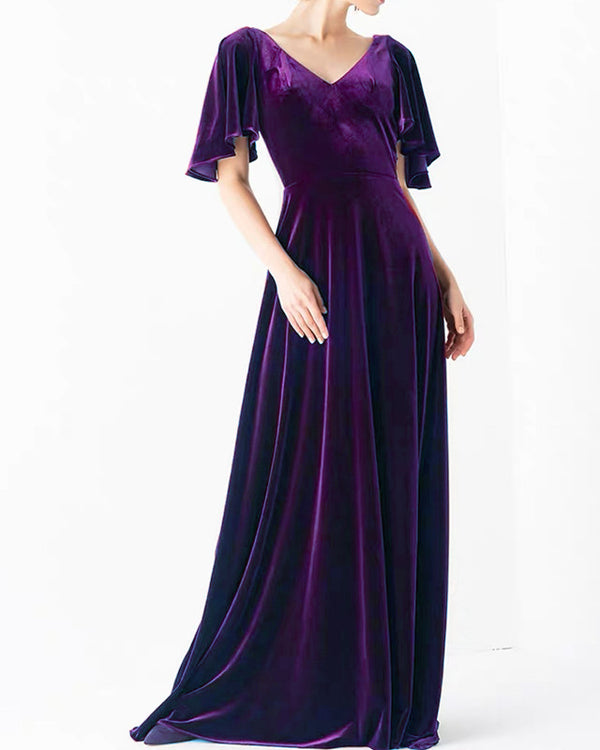 Purple Velvet Bridesmaid Dresses With Sleeves