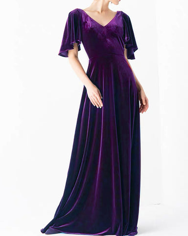 Image of Purple Velvet Bridesmaid Dresses With Sleeves