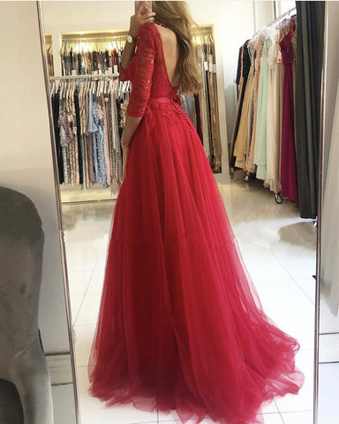 Image of Red Backless Bridesmaid Dress