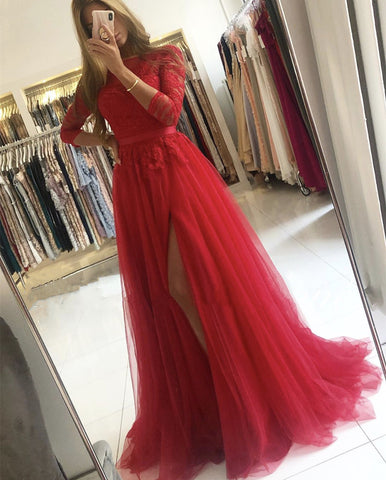 Image of Red Bridesmaid Dresses With Sleeves