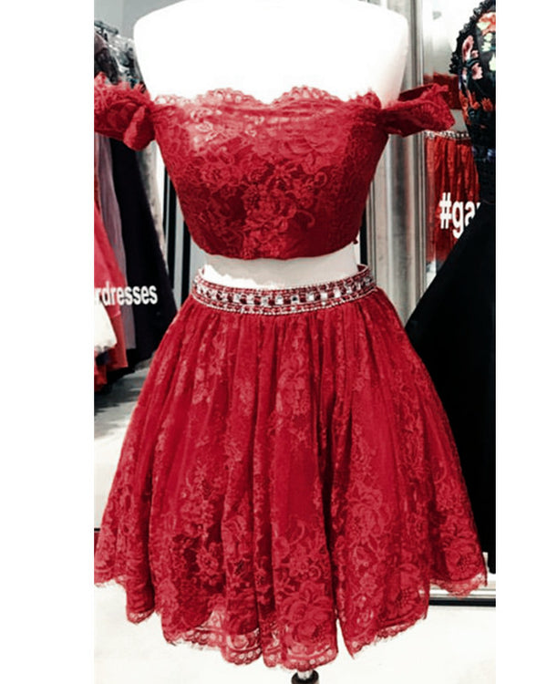 Red Lace Homecoming Dresses 2019 Two Piece Style