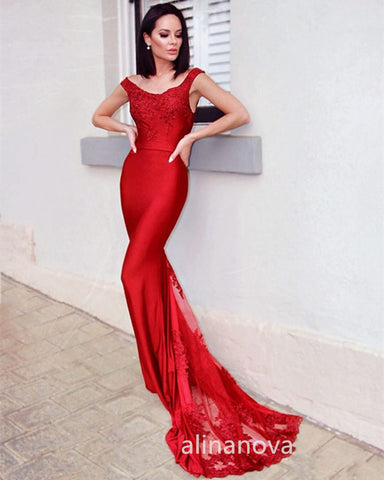Image of Red Mermaid Prom Dresses 2020