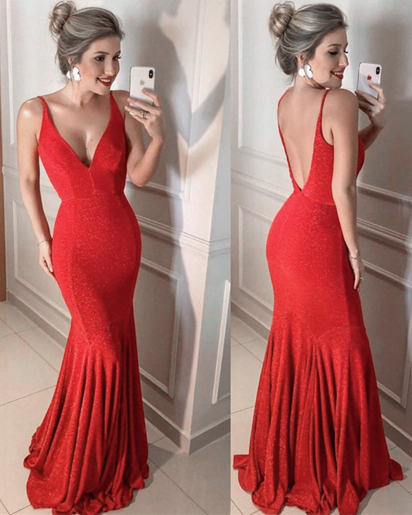Red Sequin Mermaid Evening Gowns 2020