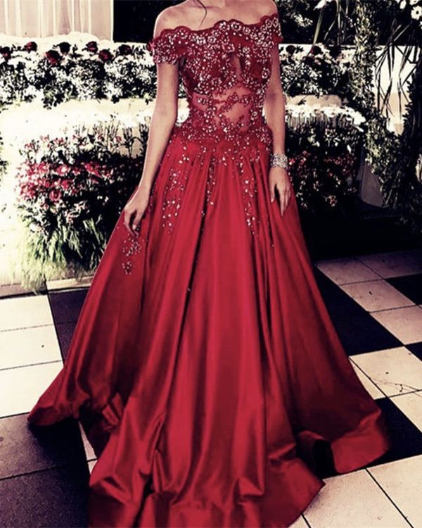 Glamour Lace Beaded Prom Dresses Satin Off The Shoulder
