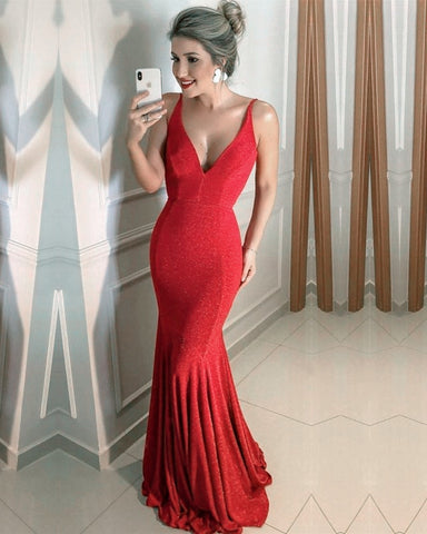 Image of Red Sequin Mermaid Prom Dresses 2020