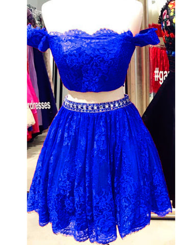 Image of Royal Blue Lace Two Piece Homecoming Dresses 2019