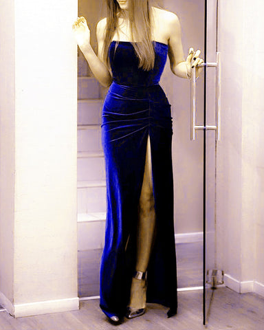 Image of Royal Blue Mermaid Velvet Bridesmaid Dress