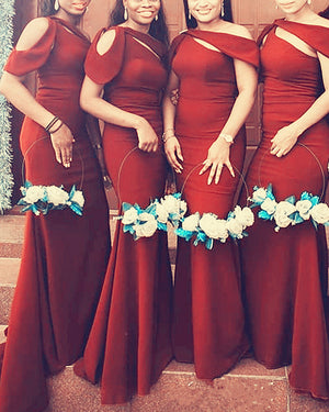 Rust Satin Mermaid Bridesmaid Dresses