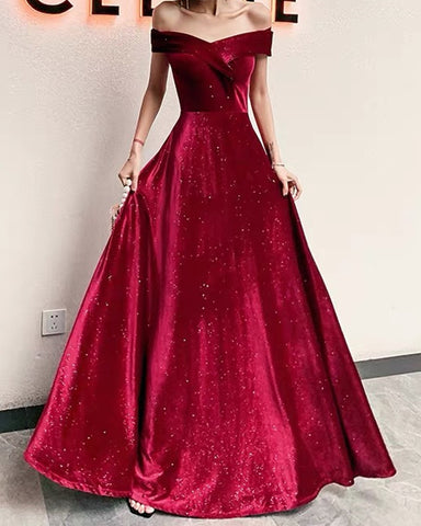 Image of Burgundy Sparkle Velvet Prom Dresses