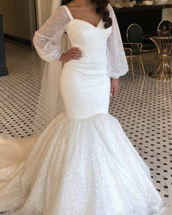 Sequins Mermaid Wedding Dress Puffy Sleeves