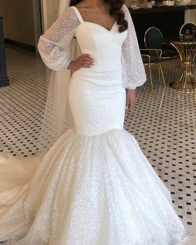 Image of Sequins Mermaid Wedding Dress Puffy Sleeves
