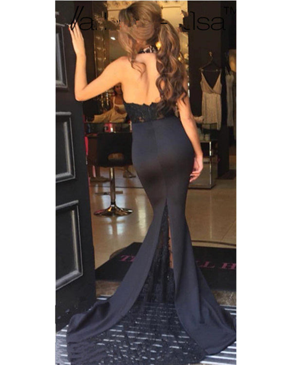 Sexy-Long-Formal-Bridesmaid-Dresses-Black-Lace-Halter-Prom-Dress